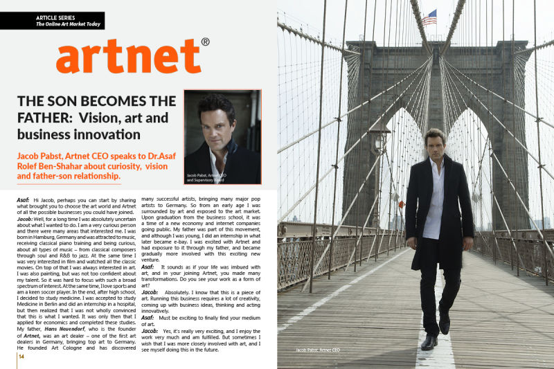 Jacob Pabst, CEO, artnet, in a special interview for Art Market Magazine's readers.