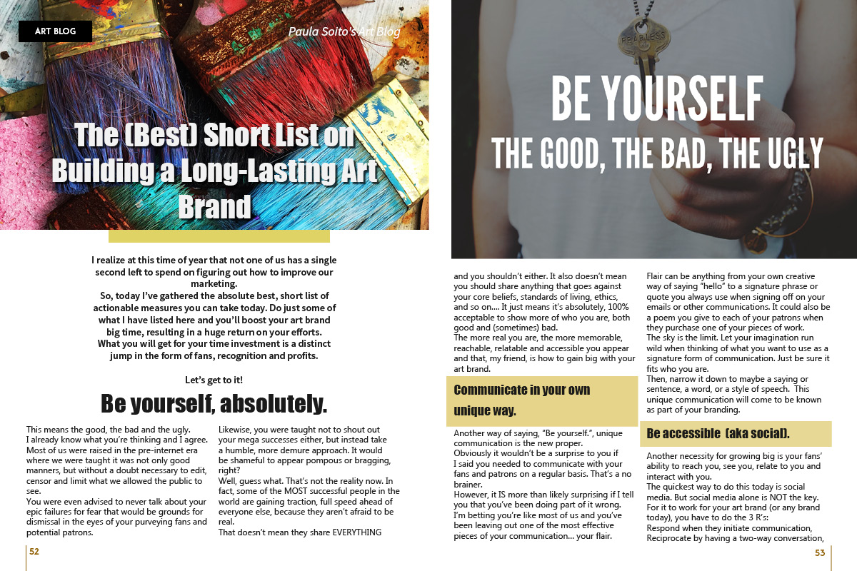 Best Tips for Artists Brand by Paula Soito on Art Market Magazine