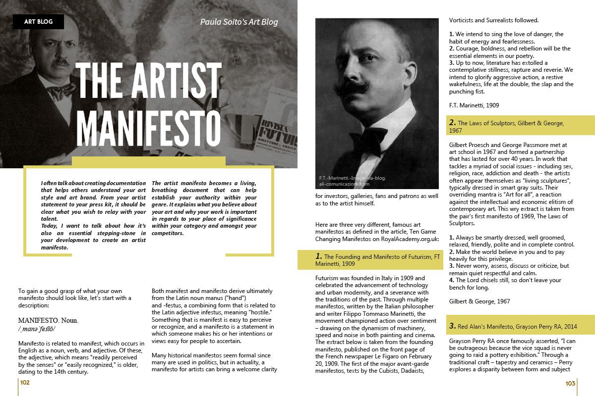 The Artist Manifesto by Paula Soito on Art Market Magazine