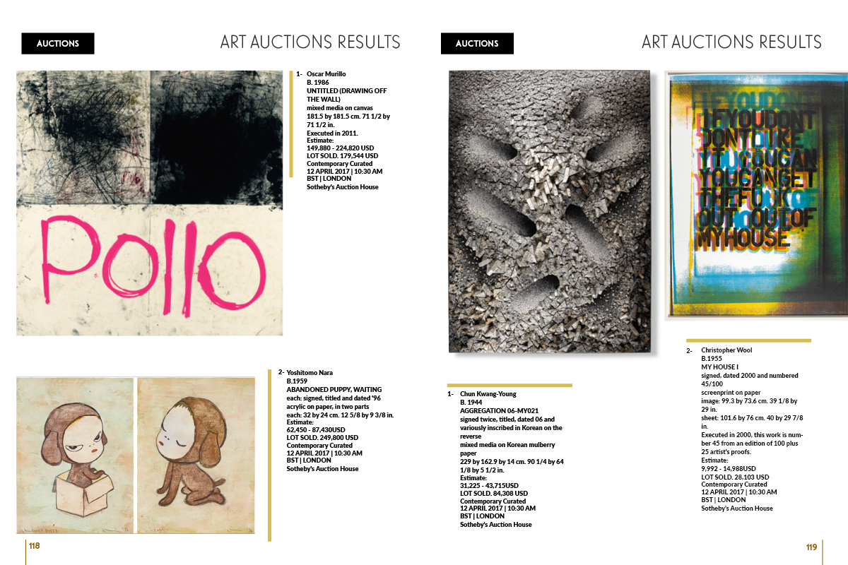ART AUCTIONS RESULTS on Art Market Magazine Issue 34