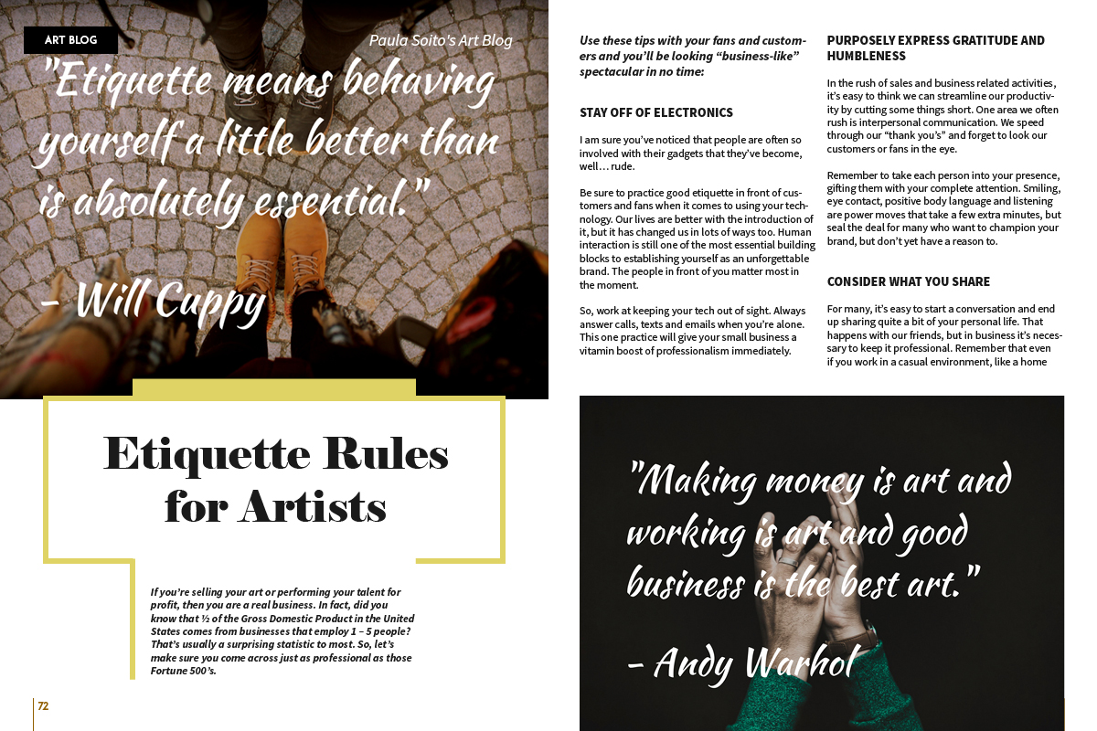 Etiquette Rules For Artists by Paula Soio, Art Market Magazine Issue 34