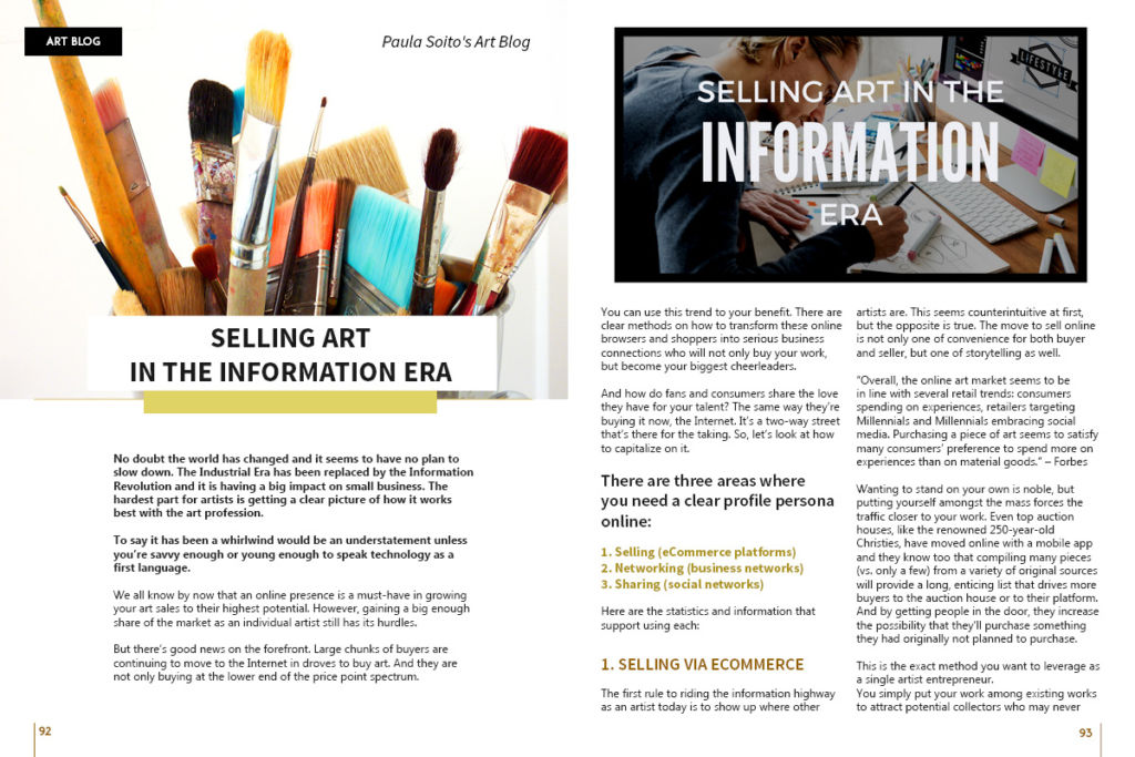 Selling Art in the Information Era by Paula Soito, on Art Market Magazine issue 35